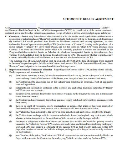 automobile dealer agreement
