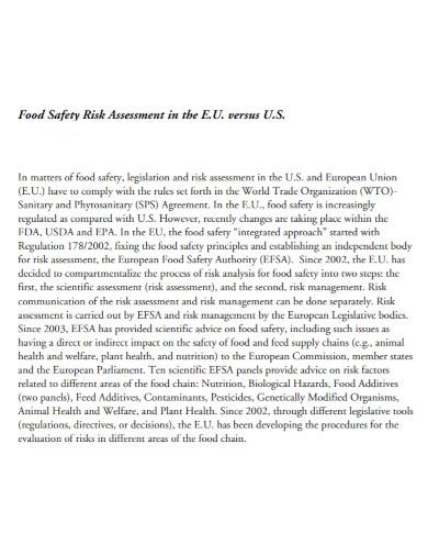 basic food safety risk assessment