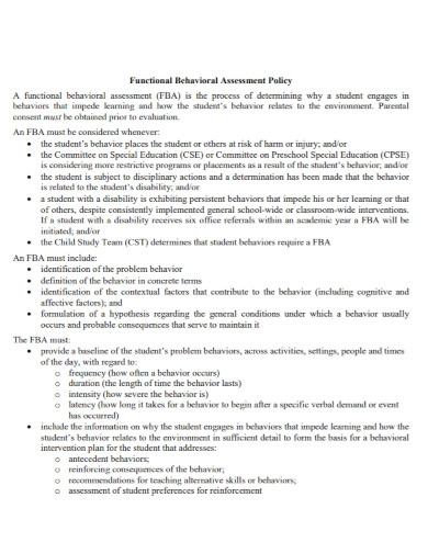 behavioral assessment policy