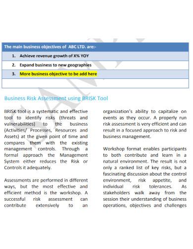 business risk assessment template