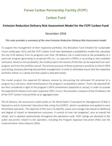 carbon fund delivery risk assessment