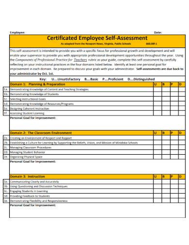 certificated employee self assessment