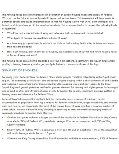 city housing needs assessment