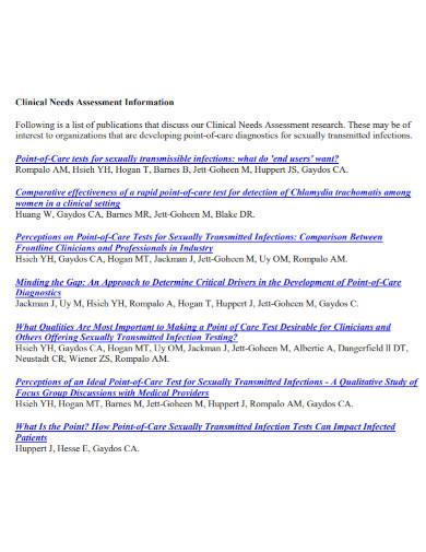 clinical needs assessment template