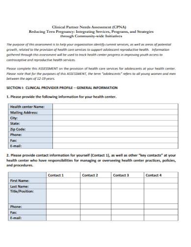 clinical partner needs assessment