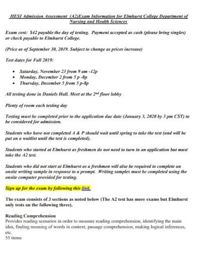 college nursing admission assessment