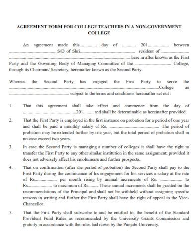 college teacher agreement form