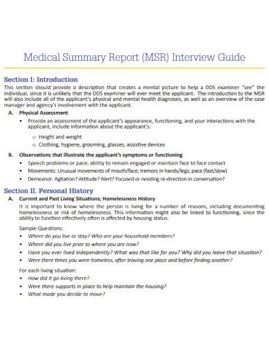 communities medical summary report