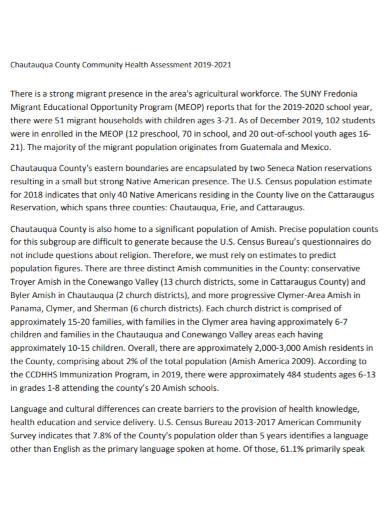 community health assessment plan