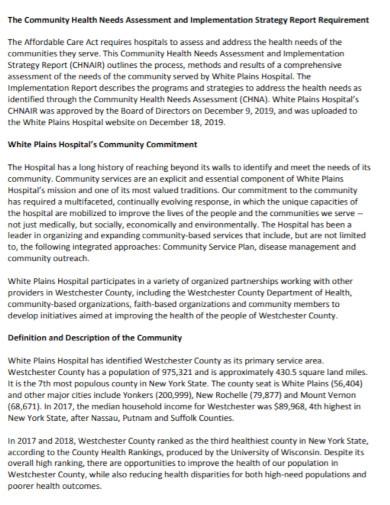 community health assessment report