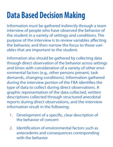 data based behavioral assessment