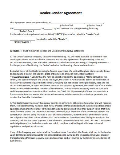 dealer lender agreement for vehicle