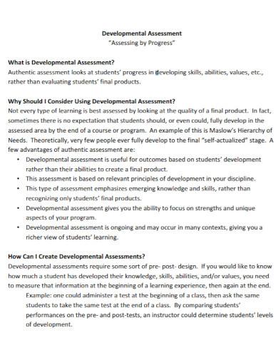 developmental assessment template
