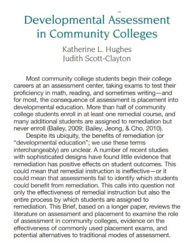 developmental assessment in community colleges