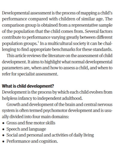 developmental assessment of children