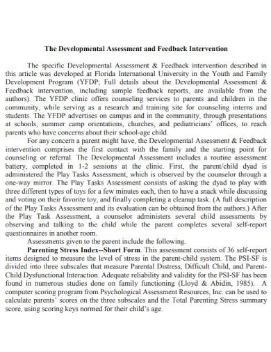 draft developmental assessment