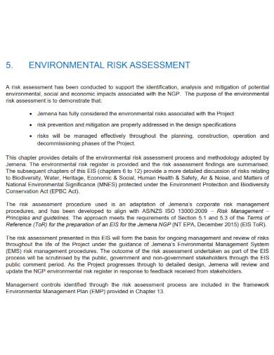 draft environmental risk assessment