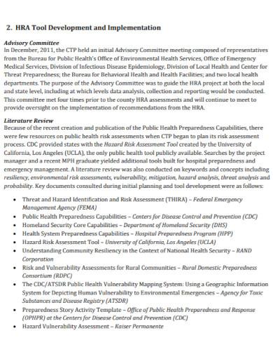 draft health risk assessment