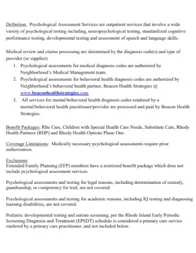 draft psychological assessment