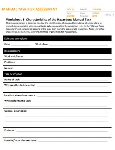 draft task risk assessment