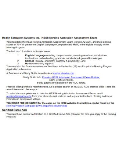 education nursing admission assessment