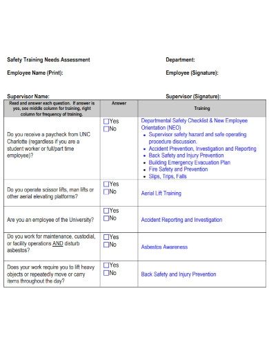 employee safety needs assessment