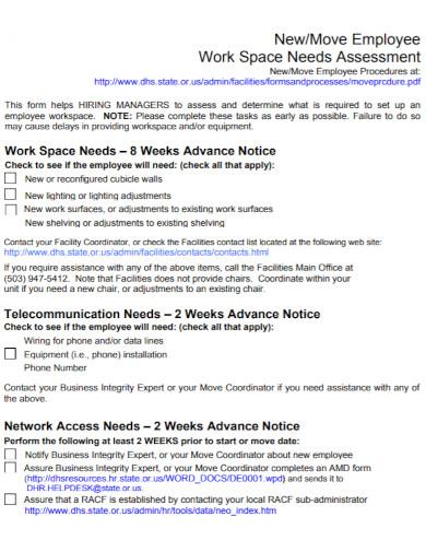 employee work space needs assessment