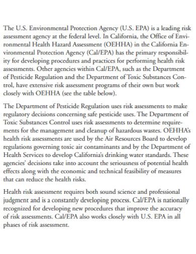 environmental office risk assessment