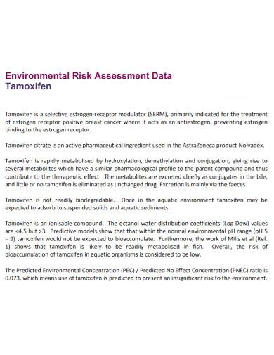 environmental risk assessment data