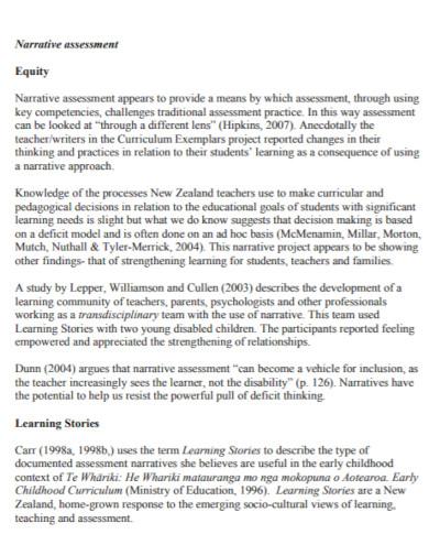 equity narrative assessment