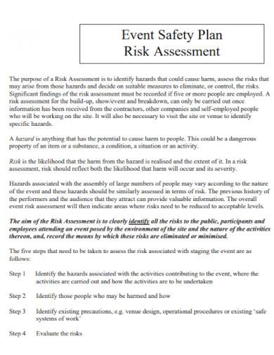 event safety plan risk assessment