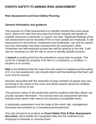 event safety planning risk assessment