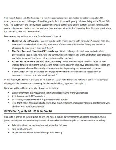 family needs assessment report