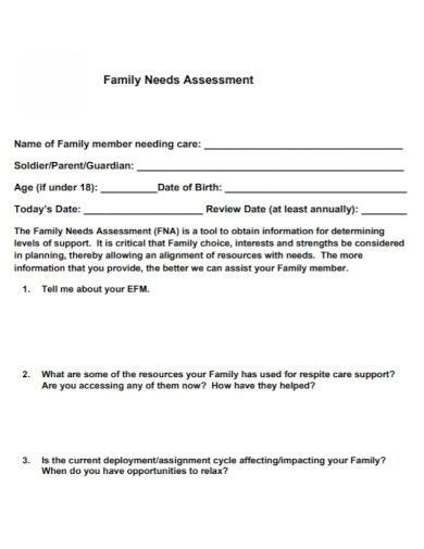family needs assessment template