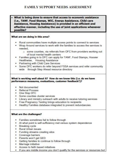 family support needs assessment