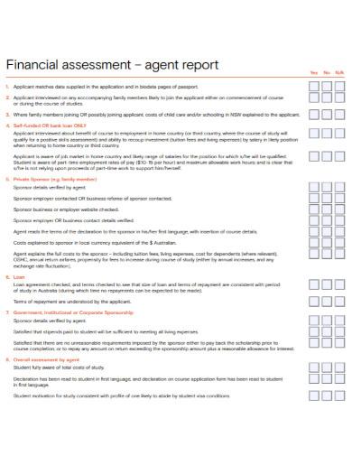 financial assessment agent report