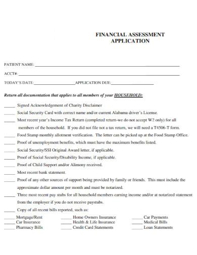 financial assessment application