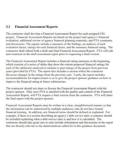 financial assessment reports