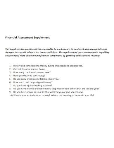 financial assessment supplement