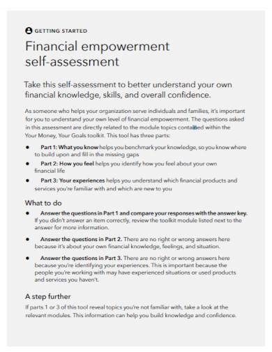 financial empowerment self assessment