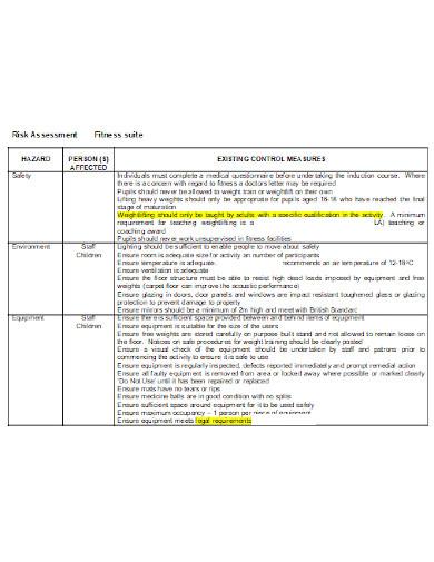 fitness risk assessment