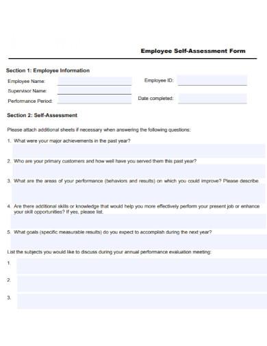 formal employee self assessment