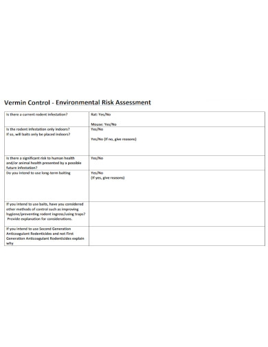formal environmental risk assessment