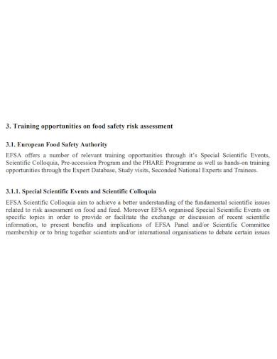 formal food safety risk assessment