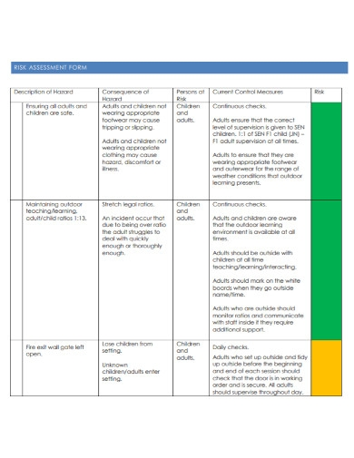 foundation stage outdoor risk assessment