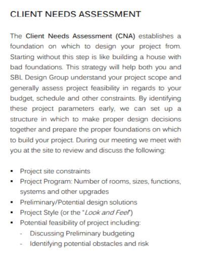 general client needs assessment