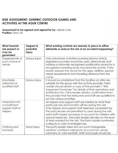generic risk assessment for outdoor