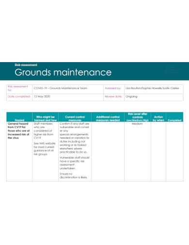 grounds maintenance risk assessment