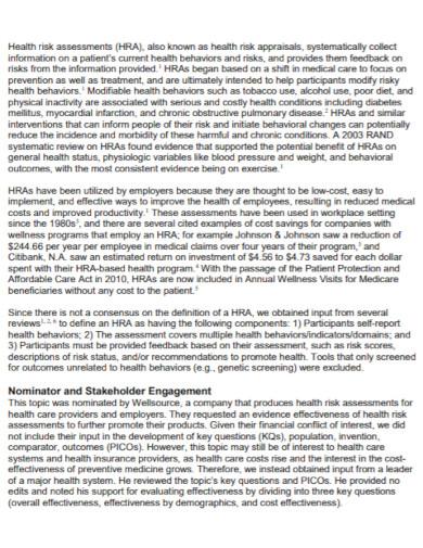 health risk assessment in pdf