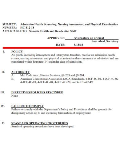 health screening nursing admission assessment